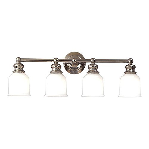 - Hudson Valley Lighting Riverton 4-Light Vanity Light - Polished Nickel Finish with Opal Glossy Glass Shade by Hudson Valley Lighting