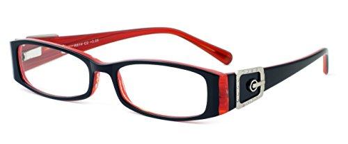 (Calabria 814 Techno Optical Metal Reading Glasses in Ebony +4.00)