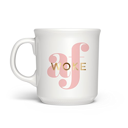 Fred SAY ANYTHING Gold Accent Coffee Mug, 16-Ounce, Woke AF