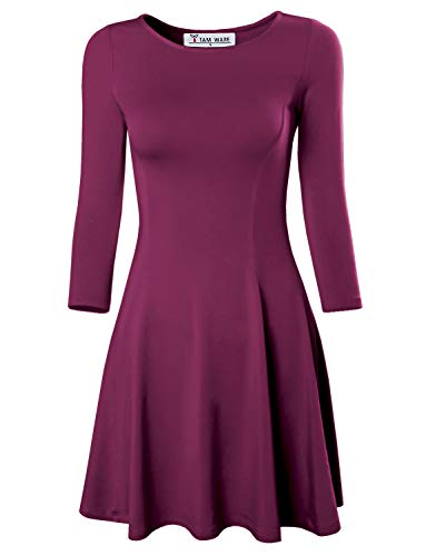 TAM WARE Women's Casual Slim Fit and Flare Round Neckline Dress TWCWD052-WINE-US XS/S(Tag Size -