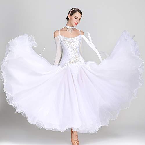 Abiti Valzer strass Rete m Sala Più Wqwlf Tulle Competizione cristalli Da Swing Colori Grande Danza Costume Donna White Ballo Maniche S A Outfit Moderno YgCw8qA