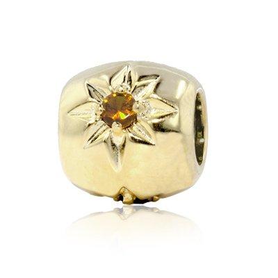 Citrine Barrel - Jobvana Yellow Gold Vermeil Sterling Silver Spacer Barrel Charm with Citrine,fits Pandora Bracelet