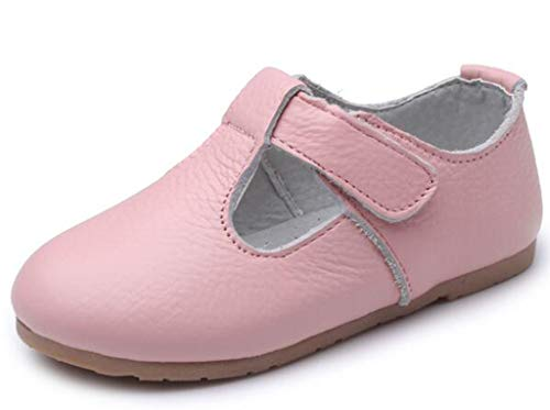 DADAWEN Child's Gril's Leather T-Shaped Strap Oxford Shoes