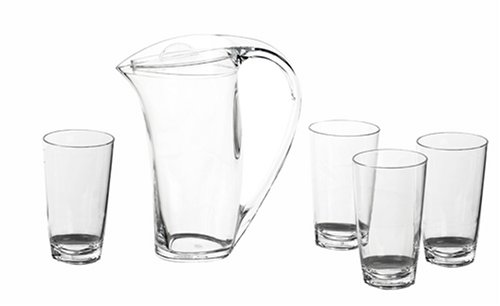 2 Quart Acrylic Pitcher - CreativeWare Geo Set of Four 20 Ounce Acrylic Tumblers With 2 Quart Pitcher