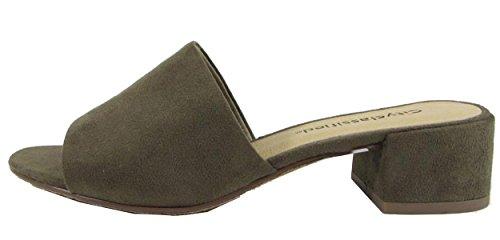 City Classified Women's Block Heel Slip On Clog Mule Sandal (6 B(M) US, Light Olive)