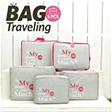 Romantic Gift 2 Days Delivery 5 Pcs Packing Cubes/Storage bags/Travel Duffle Bags (Gray)
