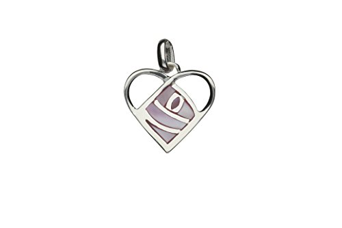 Mackintosh Pink Rose - Handmade 925 Sterling Silver Elegant Mackintosh Heart Pink Rose Pendant with Silver Chain