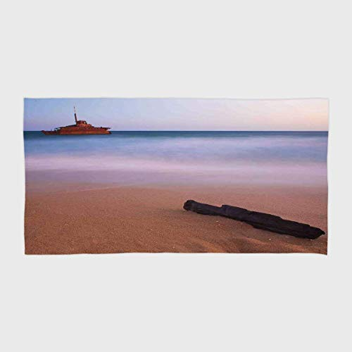 Polyester cotton Microfiber Hotel SPA Beach Pool Bath Hand Towel,Ocean Decor,Shipwreck on Beach at Dusk in South Australian Lands by the Sea Shore Navy Nautical,Multi,for Kids, Teens, and Adults
