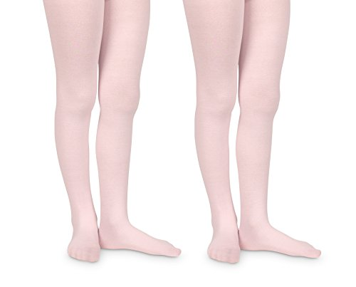(Jefferies Socks Girls Pro Ballet Dance Ultra Soft Microfiber Footed Tights 2 Pair Pack (4-6 Years, Pink))