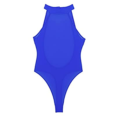 Agoky Women's One Piece Halter Neck Backless High Cut Thong Tank Leotard Bodysuit Swimsuit: Clothing