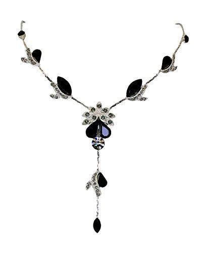 Black Wedding Jewelry - Faship Gorgeous Black Crystal Floral Necklace Earrings Set