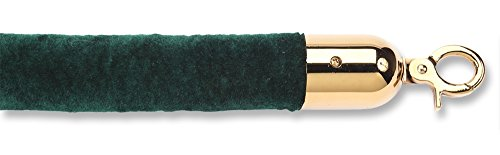 - ComeAlong Industries Velour Rope with Polished Brass Snap End, 4', Dark Green