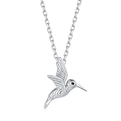 Carleen 18K White Gold Plated 925 Sterling Silver Hummingbird Dainty Pendant Necklace for Women Girls with 15.75