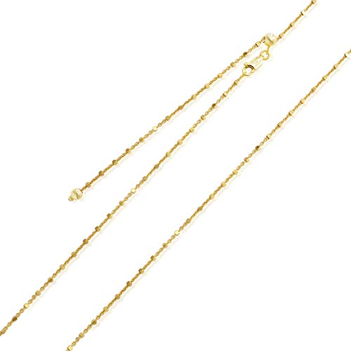 Chain Rolo Adjustable - Sea of Ice Yellow Gold Flashed Sterling Silver 1mm Diamond-Cut Alternate Bead Rolo Chain Adjustable Necklace, Size 22