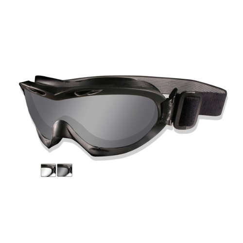 Wiley X Nerve Goggles Smoke Grey Clear Lens Matte Black Frame -