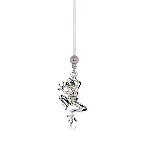 Pierced Owl CZ Crystal Frog Dangle BioFlex Pregnancy Maternity Belly Button Navel Ring Retainer (Green)