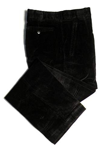 TCM Stretch Corduroy Dress Pants For Men - 1/2 Lined - Flat Front - Black