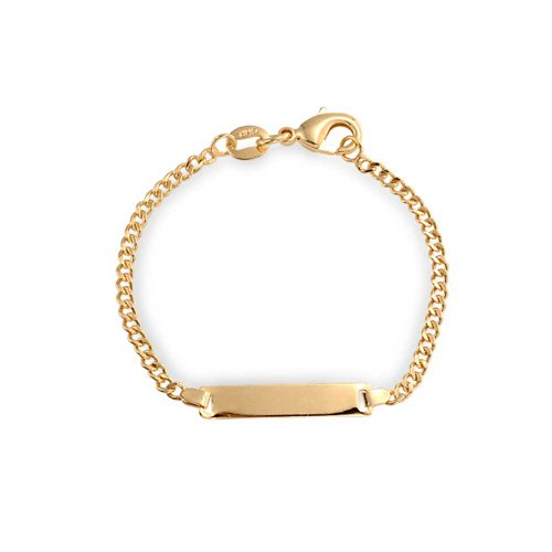 Bling Jewelry 18K Gold Plated Delicate Personalized Name Engravable Identification Tag ID Bracelet Women Girl for Small Wrists 5 Inch