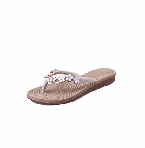 Sandals Slip YUCH Mi Chaussons Flat Anti Fleurs Femmes wxSaqnH1