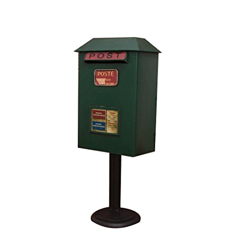 Vertical Metal Retro Mailbox,Floor-mounted Mailbox, Vintage Wrought Iron Waterproof Mailbox (Color : Green)