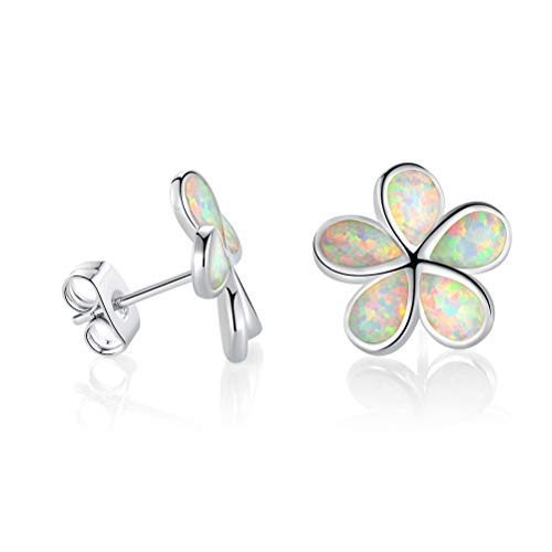 OPALBEST Flower Fire Opal Stud Earring Birthstone Jewelry White Gold Plated Nickle Free for Women Girls