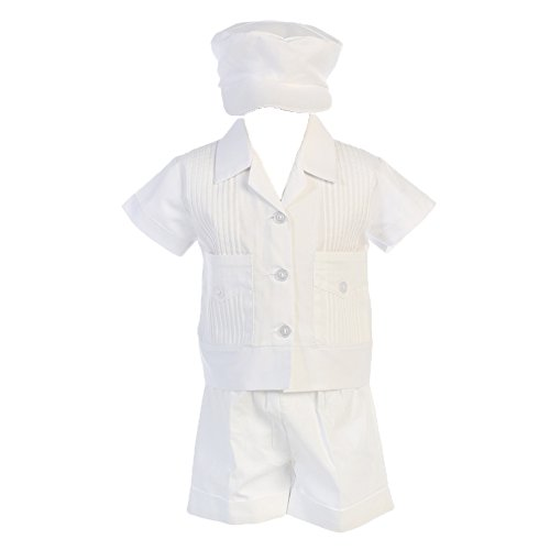 Lito Boys Poly Cotton Pintuck Shirt and Shorts Christening Baptism Outfit, White, 12-18 -