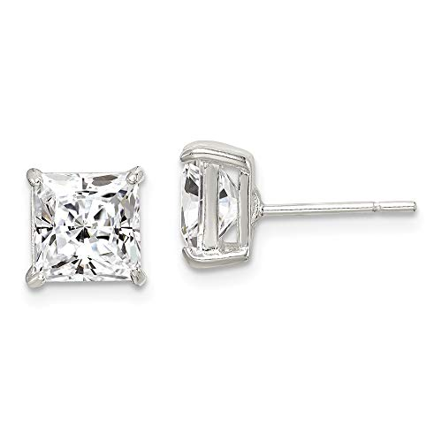 925 Sterling Silver 7mm Square Cubic Zirconia Cz Basket Set Stud Earrings Radiant Fine Jewelry Gifts For Women For Her]()