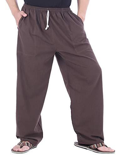 CandyHusky Mens Cotton Loose Joggers Casual Lounge Pajama Gym Workout Yoga Pants (Dark Brown) ()