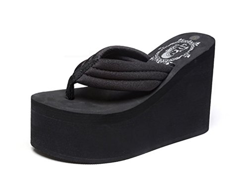 Always Pretty Women's Cheap Flip Flops Wedge Sandals Platform Thongs Black-11cm US 7