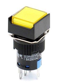 Woljay 16mm Commutateur à bouton poussoir Interrupteur Carré LED Lampe Jaune Lumière DC 24V SPDT 5Pin 3 Pcs