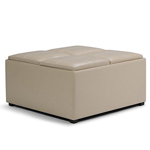Simpli Home Avalon Coffee Table Storage Ottoman with 4 Serving Trays, Satin Cream (Coffee Cream Tables)