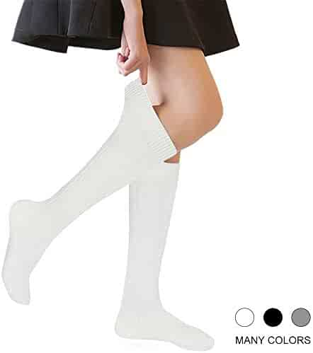 1221ac3bc Girls  Knee High Socks Cable Knit 4-16 Years Uniform Tube Cotton Socks 3