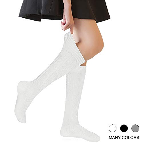 (Girls' Knee High Socks Cable Knit 4-10 Years Uniform Tube Cotton Socks White 3)