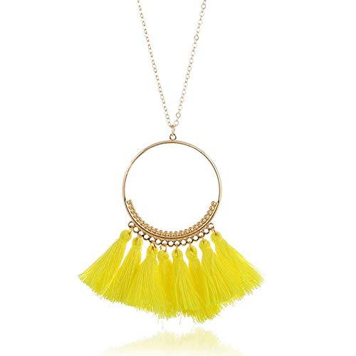 DLNCTD Long Tassel Necklace for Women Vintage Necklace Boho Bohemian Necklace Ethnic Vintage,Yellow