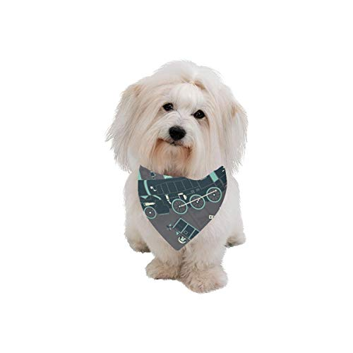 WJJSXKA Easter Pet Dog Cat Bandana Locomotive Transportation Cool and Handsome Fashion Printing Bibs Triangle Head Scarfs Kerchief Accessories for Large Dog Cat Pet Birthdays Party Gifts ()
