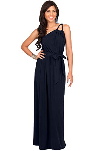KOH KOH Plus Size Womens Long Sleeveless One Shoulder Cocktail Evening Formal Bridesmaid Bridal Wedding Party Summer Sexy Cute Maternity Gown Gowns Maxi Dress Dresses, Dark Navy Blue XL - Empire Bridesmaid Waist Bridal Dress
