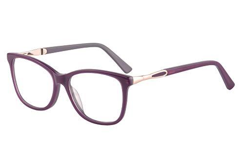 SHINU Acetate Cateye Frame Progressive Multifocus Anti Blue Light No Headach Reading Glasses-RD142(purple, anti-blue up 0 down 1.75) (Frames Affordable Glasses)