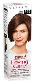 Clairol loving care, hair color creme lotion 755, Light natural brown - 3 Oz, 1 ea