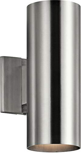 Kichler 9244BA Outdoor Cylinder Wall Mount Sconce UpLight Downlight, Brushed Aluminum 2-Light (5