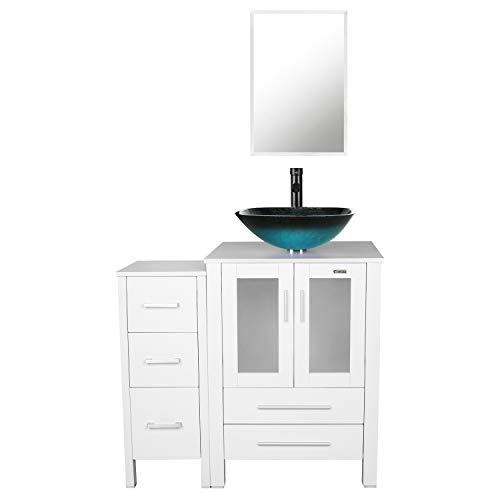 - eclife 36'' Bathroom Vanity Sink Combo W/White Small Side Cabinet Vanity Turquoise Square Tempered Glass Vessel Sink & 1.5 GPM Water Save Faucet & Solid Brass Pop Up Drain, W/Mirror (A10B02WB11W)