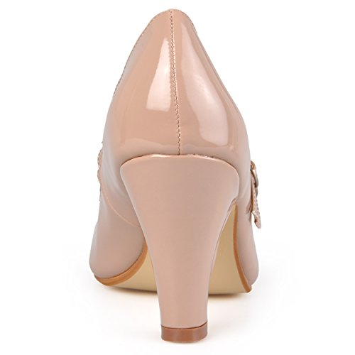 Journee Collection Dames Mary Jane Kunstleer Pumps Taupe Patent Mary Jane