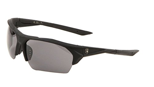 Khan Soft Rubber Semi Rimless Wrap Around Sunglasses (Black Frame, Black Super Dark)