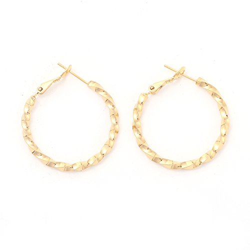 Followmoon 18K Gold Plated Women's Rope Hoop Earrings 20mm-50mm (20mm Rope Hoop Earrings)