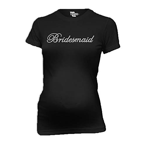 Bridesmaid Rhinestone Women's Maternity T-Shirt (Black, X-Large) ()