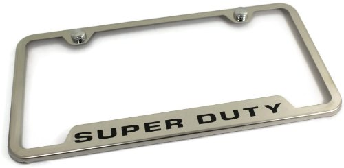 (Au-Tomotive Gold, INC. DanteGTS Ford Stainless Steel License Plate Frame F-250 F-350 F-450 Super Duty Laser Etched Chrome Made in USA Frame Mirror Bright Chrome)