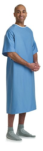 Medline Hyperbaric Patient Gown, 100% Cotton, Tieside, Blue 12/DZ