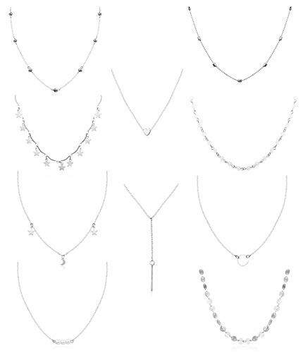 FUNRUN JEWELRY 10PCS Layered Chocker Necklace for Women Girls Multilayer Chain Necklace Set Adjustable (10PCS Silver-Tone)