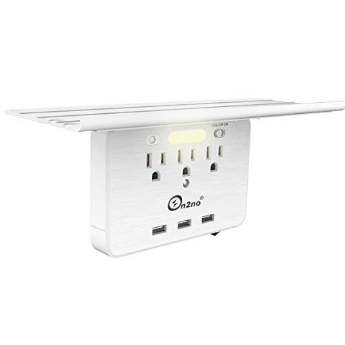 Socket Shelf - ON2NO Wall Outlet Shelf, Extra-Large Shelf with 3 Electrical Outlet, 3 USB Ports and Smart Night Light, Cable Holder and Headphone Hanger