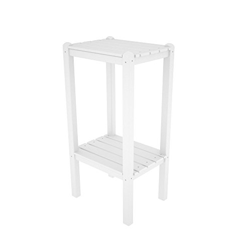 - POLYWOOD BSTWH Two Shelf Bar Side Table, White