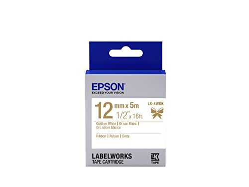 "Epson LabelWorks Ribbon LK (Replaces LC) Tape Cartridge ~1/2"" Gold on White (LK-4WKK) - For use with LabelWorks LW-300, LW-400, LW-600P and LW-700 label printers"